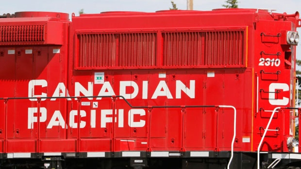 A Canadian Pacific (formerly Canadian Pacific Railway or CPR) locomotive at Crossfield, Alberta on June 9, 2015. (THE CANADIAN PRESS IMAGES/Larry MacDougal)