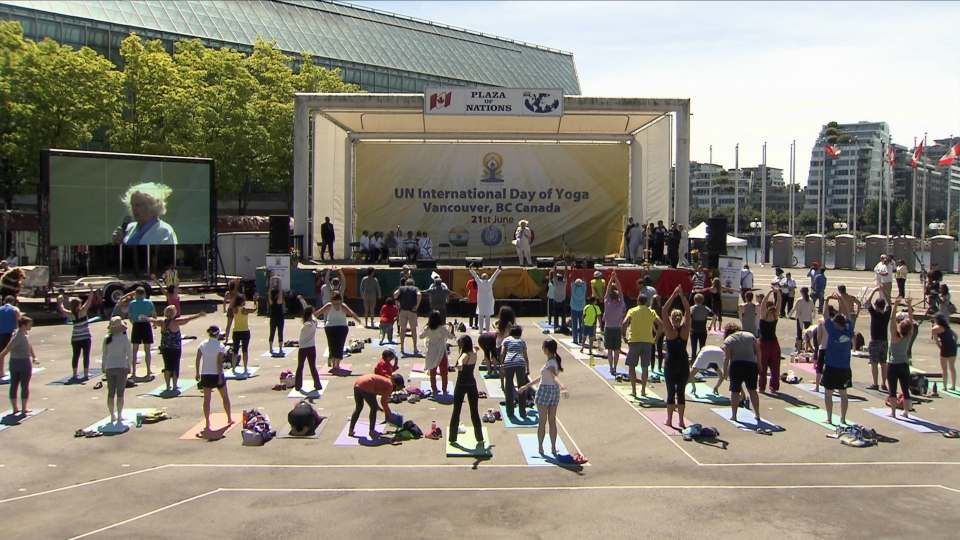 "The International Yoga Day celebration at the Plaza of Nations in Vancouver was not as big as ""Om the Bridge"" was supposed to be. (CTV)"