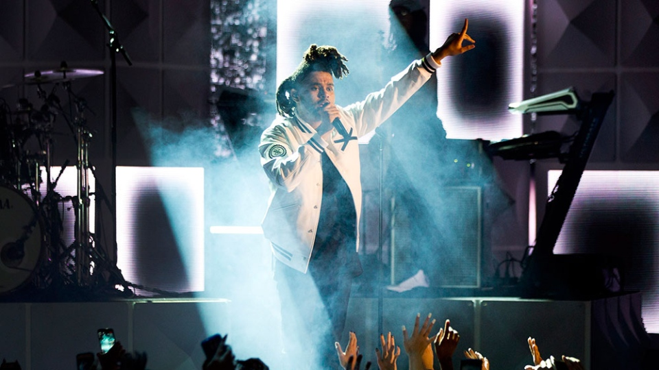 The Weeknd performs during the 2015 MuchMusic Video Awards in Toronto on Sunday, June 21, 2015. (Chris Young / THE CANADIAN PRESS)