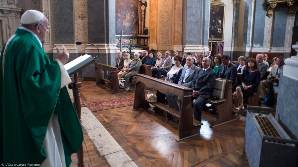 Pope Francis speaks to the Waldensian evangelical church in Turin, Italy on June 22, 2015. (L' Osservatore Romano/Pool Photo via AP)