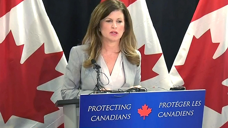 Health Minister Rona Ambrose announces Monday that Bill C-2, known as the Respect for Communities Act, has received royal assent, in Edmonton, Monday, June 22, 2015.