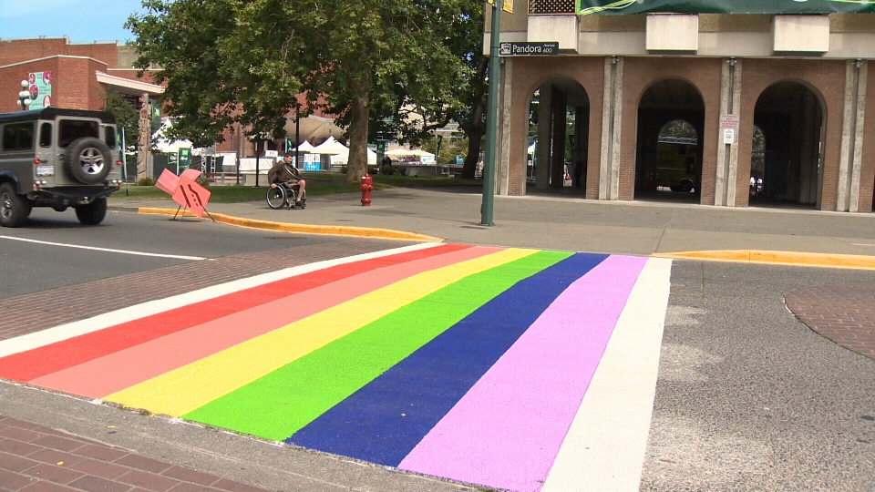 A rainbow crosswalk celebrating LGBTQ people is seen at Pandora and Broad streets in downtown Victoria, B.C., June 22, 2015. (CTV Vancouver Island)