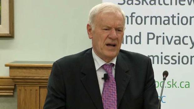 Saskatchewan privacy commissioner Ronald Kruzeniski speaks at a news conference in Regina on Monday, June 22, 2015.