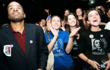 Baron Baown, from left, from Georgia, Leslie Rogers, from Georgia, Mina Bishop, from Florida, and Melina Baetti, from Georgia, react at the announcement of the victory of President-elect Barack Obama, in Paris Wednesday, Nov. 5, 2008. (AP / Thibault Camus)