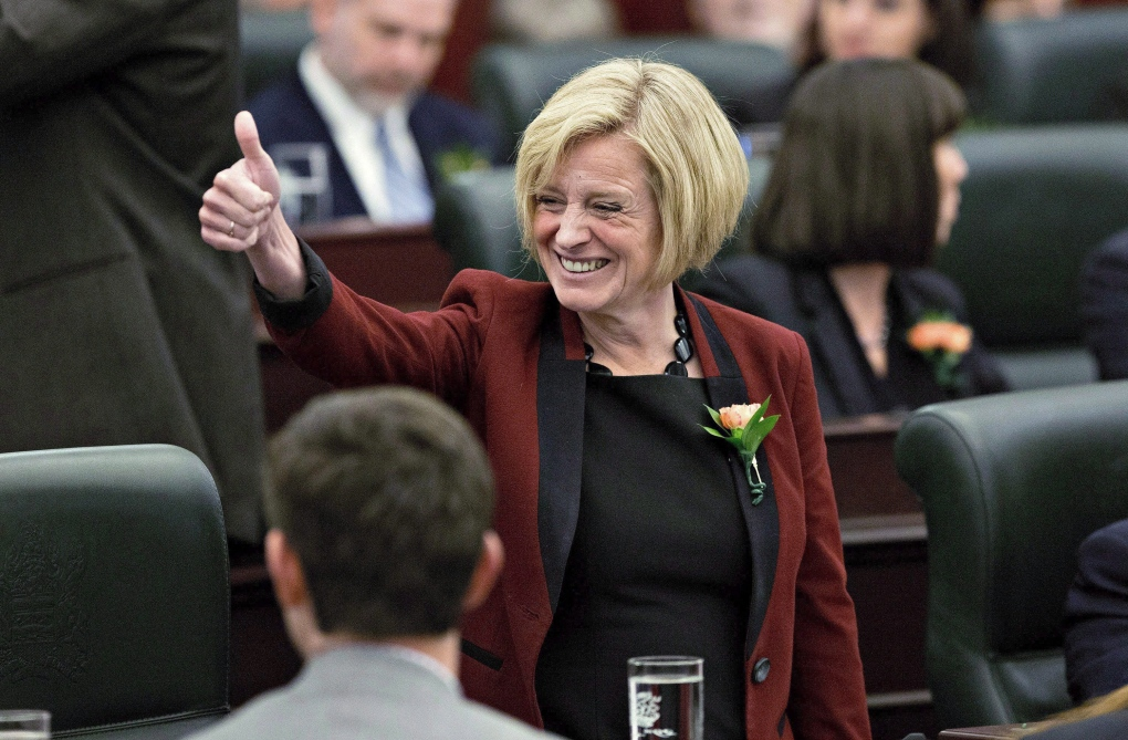 Alberta Premier Rachel Notley gives a thumbs up