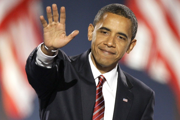 U.S. president-elect Barack Obama waves after giving his acceptance speech at Grant Park in Chicago, Ill., on Tuesday night, Nov. 4, 2008. (AP / Morry Gash)