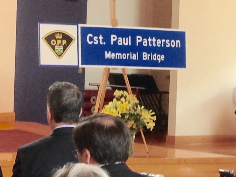 The new sign for the Const. Paul Patterson Memorial Bridge can be seen in Aurora, Ont. on Tuesday, June, 23, 2015. (KC Colby/ CTV Barrie)