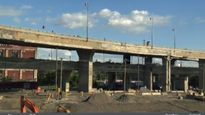 A man suffered serious injuries after falling off the Ville Marie Expressway on Tuesday afternoon.