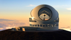 Artist rendering made available by the TMT Observatory Corporation shows the proposed Thirty Meter Telescope. (AP / TMT Observatory Corporation)
