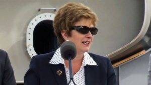 Public Works Minister Diane Finley speaks at a press conference in North Vancouver on June 24, 2015.