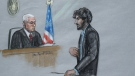 In this courtroom sketch, Boston Marathon bomber Dzhokhar Tsarnaev, right, stands before U.S. District Judge George O'Toole Jr. as he addresses the court during his sentencing, Wednesday, June 24, 2015, in federal court in Boston. (Jane Flavell Collins via AP)