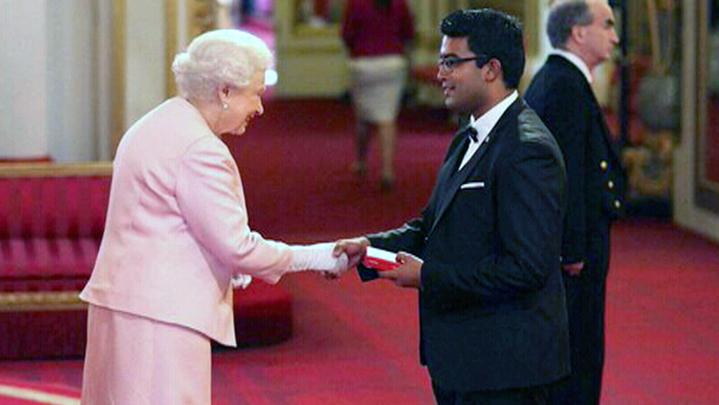 Aaron Joshua Pinto meets Queen Elizabeth II at Buckingham Palace on Wednesday, June 24, 2015.