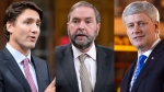 Liberal Leader Justin Trudeau, NDP Leader Thomas Mulcair and Prime Minister Stephen Harper are seen in this combination image. (Canadian Press)