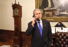 In this photo released by The White House, U.S. President George W. Bush speaks with U.S. president-elect Barack Obama during a congratulatory phone call from the Treaty Room at the White House, Tuesday, Nov. 4, 2008.