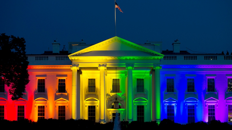 White House is lit up in rainbow colors