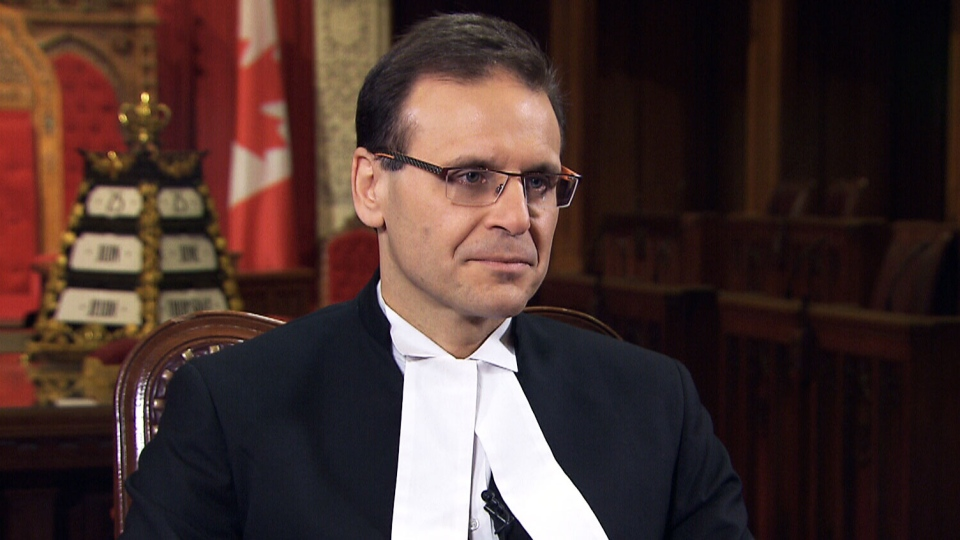 Senate Speaker Leo Housakos is shown during an interview with CTV's Question Period.