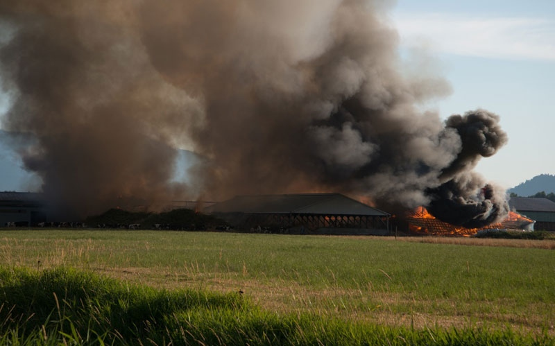 A massive fire has destroyed a barn on No 2 Road in Abbotsford (Doug & Adele Epp).