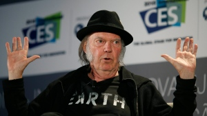 Musician Neil Young speaks during a session at the International CES, in Las Vegas on Jan. 7, 2015. (AP / John Locher)