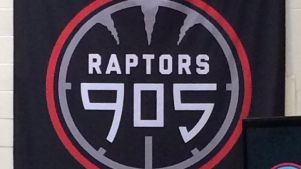The Raptors 905 logo is seen in this photo posted to Twitter by @hersheycentre.