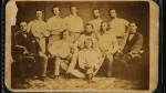 The front of a circa 1860 Brooklyn Atlantics baseball card is shown in this photo from June 30, 2015. The pre-Civil War card will be sold at auction on July 30, at the National Sports Collectors Convention in Chicago. (Heritage Auctions / Butch Ziaks)