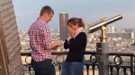 A couple on the Eiffel Tower in Paris became engaged. (Jen Hurd Bohn / Facebook)