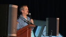 Chris Hadfield addresses the audience at the Hadfield Summit in Gatineau, Quebec. June 30, 2015
