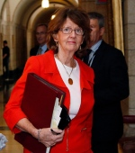 Sen. Marjory LeBreton arrives at the Senate on Parliament Hill in Ottawa on Thursday, May 23, 2013. (Patrick Doyle/THE CANADIAN PRESS)