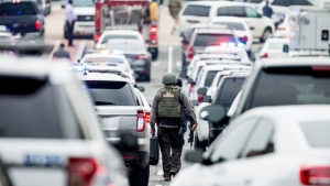 A large police presence gathers in southeast Washington, on July 2, 2015 (AP / Andrew Harnik)