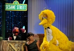 Telly Monster, left, Sonia Manzano, centre, and Big Bird perform at the Daytime Emmy Awards in Los Angeles on Sunday Aug. 30, 2009.  (AP / Chris Pizzello)