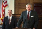 Alabama Attorney General Luther Strange speaks about a state settlement with BP for the 2010 oil spill in the Gulf of Mexico, Thursday, July 2, 2015, at the Capitol building in Montgomery, Ala. (Albert Cesare/The Montgomery Advertiser)