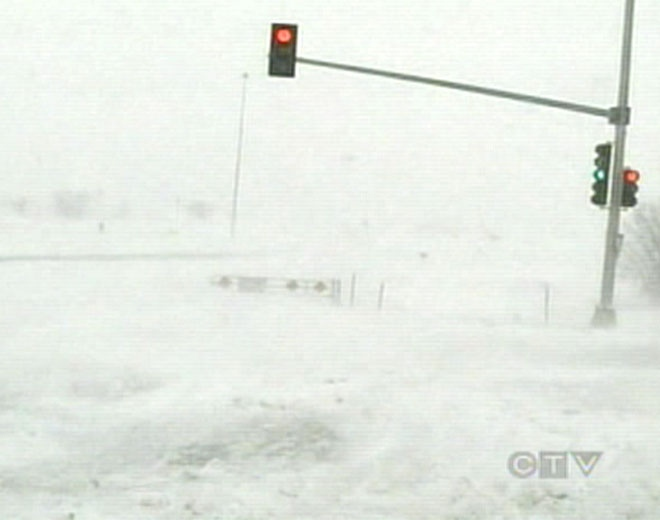 More than a meter of snow fell in some parts of South Dakota, closing a number of highways on Friday, Nov. 7, 2008.
