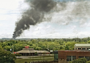 Smoke rises into sky Thursday, July 2, 2015, from train derailment in Maryville, Tenn. (Mark A Large / The Daily Times via AP)