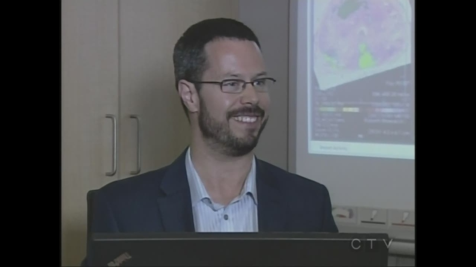 Dr. Aaron Ward discusses software he's developing to help diagnose and treat prostate cancer in London, Ont. on Friday, July 3, 2015. (Steve Ward / CTV London)