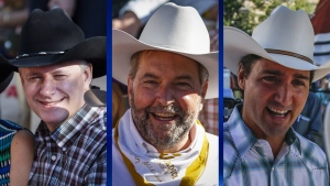 Harper, Mulcair and Trudeau look for votes at Calgary Stampede