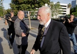 Peter Pocklington, the former owner of the Edmonton Oilers NHL hockey team, arrives at U.S. District Court for sentencing on perjury charges, in Riverside, Calif., Wednesday, Oct. 27, 2010. (AP/Reed Saxon)
