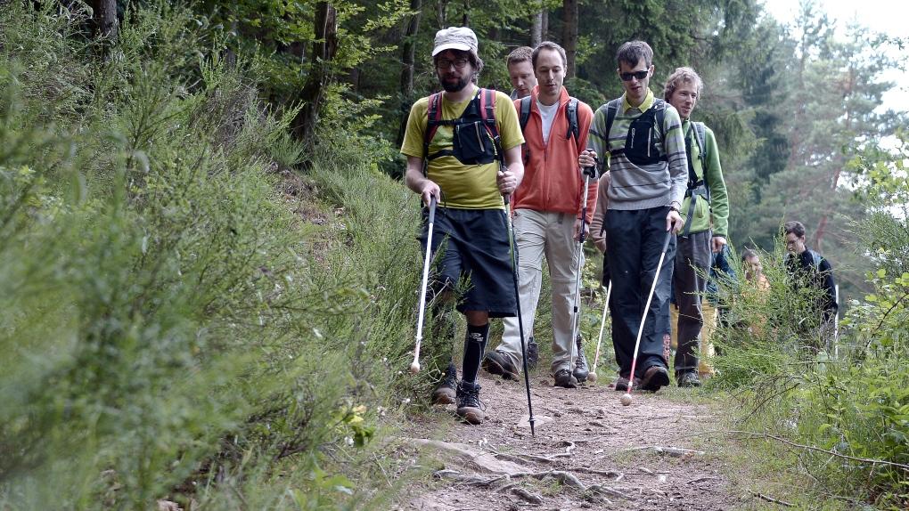 Blind people hiking