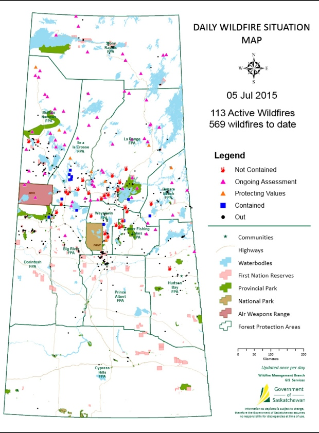 Wildfire map on July 5, 2015