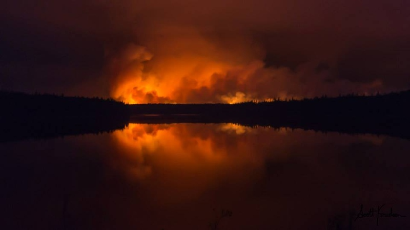 The Eli Fire burns near Midway Lake in northern Saskatchewan.  Photo: Scott Knudsen, Northscape Photography