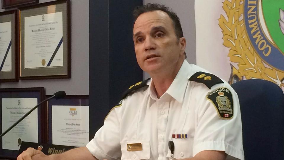 Winnipeg Police Service Supt. Danny Smyth talks to the media during an availability in Winnipeg on Sunday, July 5, 2015. (Steve Lambert / THE CANADIAN PRESS)