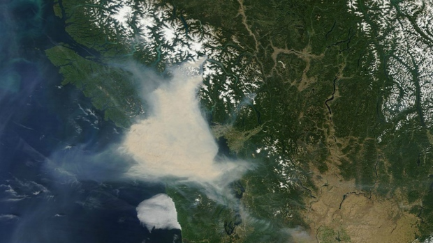 Smoke over B.C. seen from space
