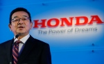Honda Motor Co.'s CEO Takahiro Hachigo speaks during a press conference at the automaker's headquarters in Tokyo, Monday, July 6, 2015. (AP / Shizuo Kambayashi)
