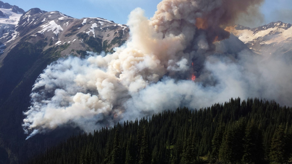 Smoke is seen from a fire near Lillooet, B.C, on Thursday, July 2, 2015. (BC Wildfire Service)