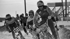 Scot Breithaupt leads the pack in a BMX bicycle race in Las Vegas in this photo from 1976. (Russ Okawa Archives / USA BMX)