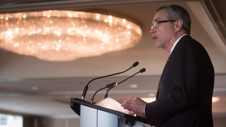 Finance Minister Joe Oliver addresses the Australia-Canada Economic Leadership Forum in Vancouver, Tuesday July 7, 2015. (Darryl Dyck / THE CANADIAN PRESS)