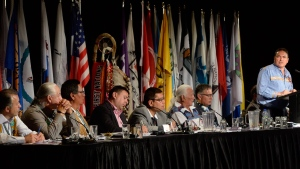 Assembly of First Nations national Chief Perry Bellegarde, right, gives the keynote speech at the AFN's annual conference in Montreal on Tuesday, July 7, 2015. THE CANADIAN PRESS/Ryan Remiorz