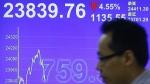 A man walks past a screen showing the Hong Kong share index at a brokerage firm in Hong Kong on July 8, 2015. (AP / Kin Cheung)
