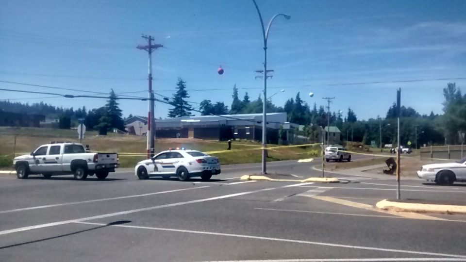 Police cordon off a section of Granville Street in Port Hardy, B.C. following an officer-involved shooting that killed a man. July 8, 2015. (CTV Vancouver Island)