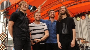 From left, Lead singer Dan Reynolds, Ben McKee, Daniel Platzman and Wayne Sermon of Imagine Dragons at Rockefeller Plaza in New York, on Friday, June 26, 2015. (Photo by Brad Barket/Invision/AP)