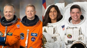 In this photo provided by NASA, astronauts Douglas Hurley, Eric Boe, Sunita Williams and Robert Behnken are seen. The four veteran astronauts selected to fly the first commercial space missions, NASA announced, Thursday, July 9, 2015.