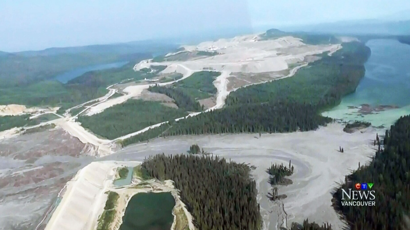 An undated file photo shows an aerial view of the Mount Polley mine before it was scheduled to reopen.